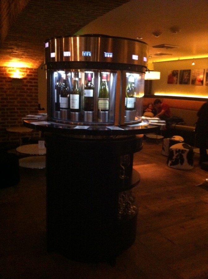 Play bartender at this savvy wine bar with the Enomcatic Wine Dispenser