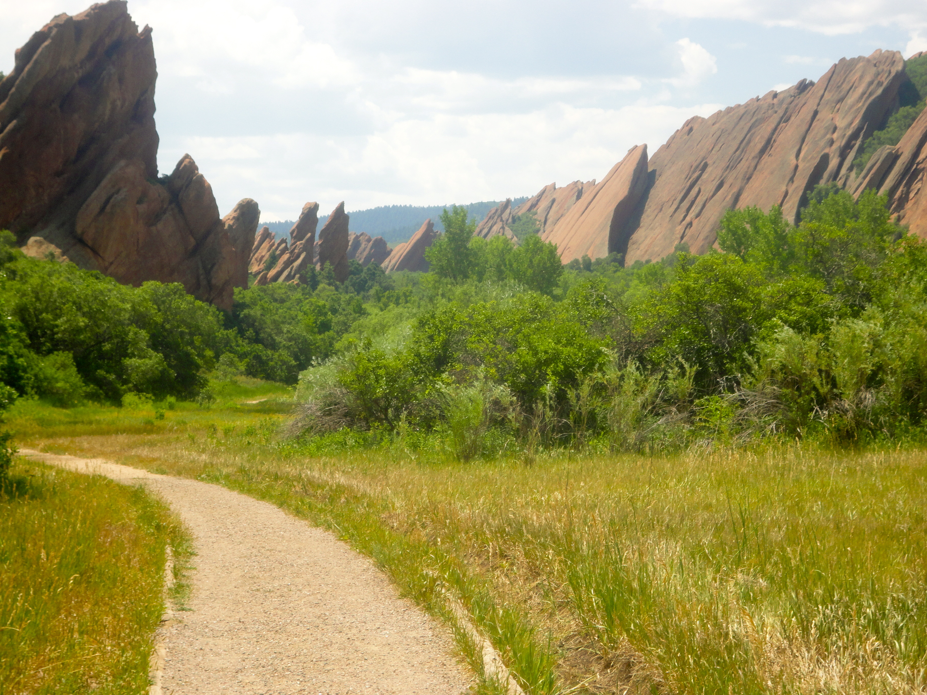 Towering red rock formations surround Roxborough State Park creating dramatic views in southwest Denver