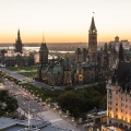 Panoramic view of downtown Ottawa with Parliament Hill