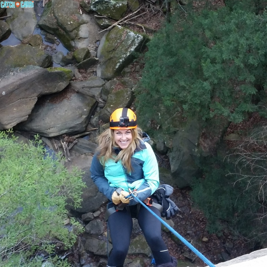 winter waterfall rapelling