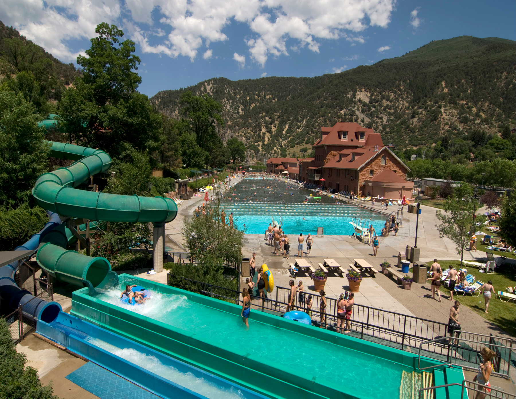 Water Slides At The Glenwood Hot Springs Pool Drop 47 Feet Courtesy